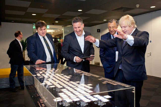 Mayor Boris Johnson at the opening with deputy Kit Malthouse, George Iacobescu and Level 39 head Eric Van der Kleij